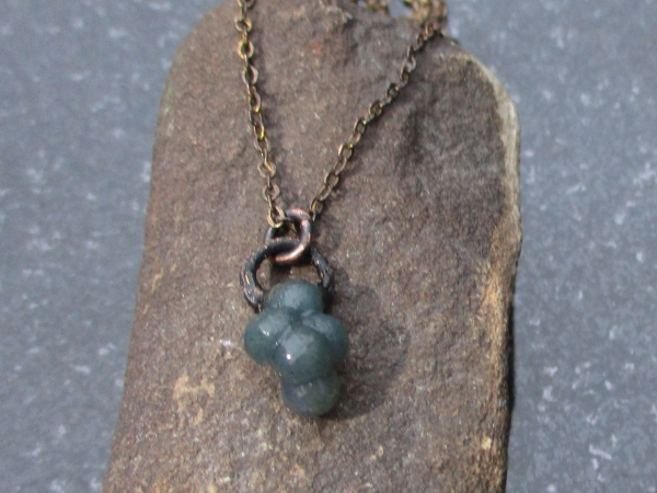 Grape Agate Crystal Cluster Necklace Green Chalcedony Jewelry  Raw Stone Layerin