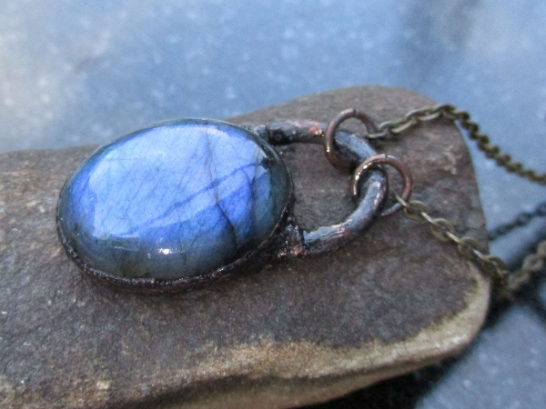 Blue Flash Labradorite Necklace with Copper Electroformed Gemstone Pendant with