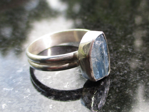 Australian Blue Opal and Quartz Crystal Adjustable Ring in 925 Sterling Silver S