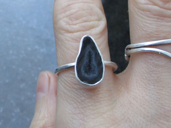 Druzy Geode Ring in Sterling Silver Size 6.5 Black Tabasco Geode Quartz Jewelry