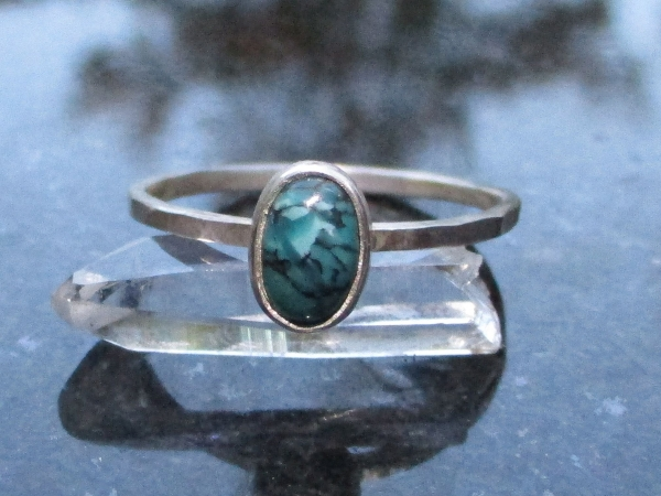 Turquoise Sterling Silver Stacking Ring in Size 9 December Birthstone Handmade G