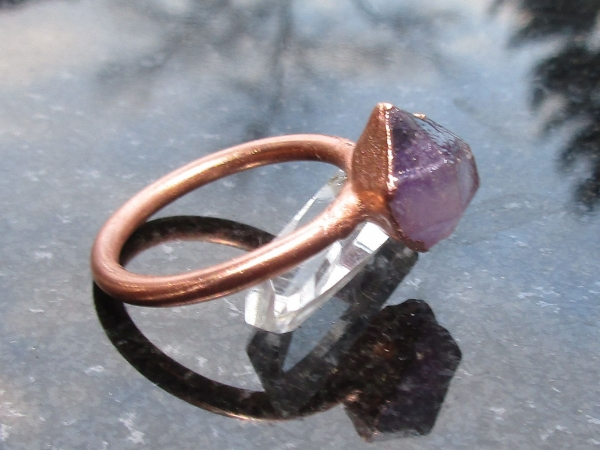 Raw Amethyst Copper Electroformed Ring Size 7 February Birthstone  Crystal Stack