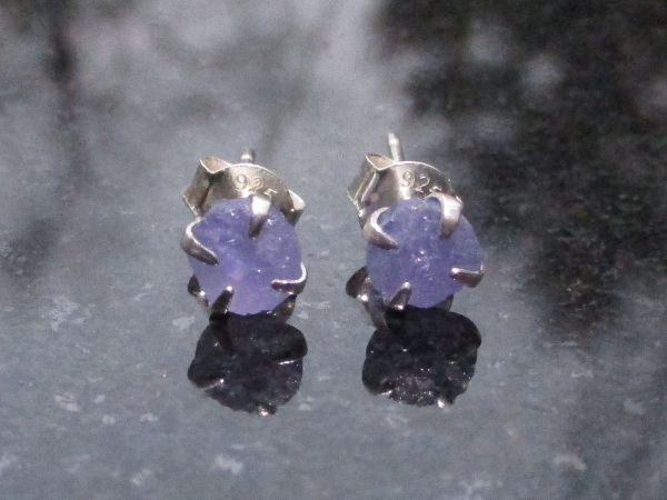 Blue Sapphire Earrings Studs in 925 Sterling Silver Minimalist 4mm Small Stone C