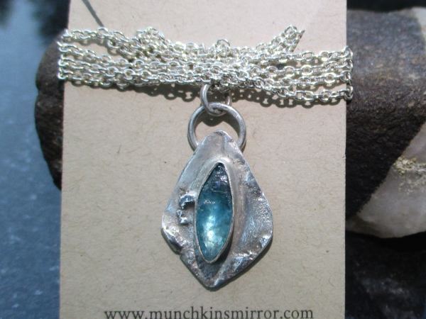 Raw Blue Apatite and Sterling Silver Pendant Reticulated Freeform Necklace for W