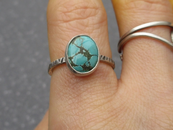 Turquoise Sterling Silver Stacking Ring Size 6 Natural Hubei Turquoise Blue Gem