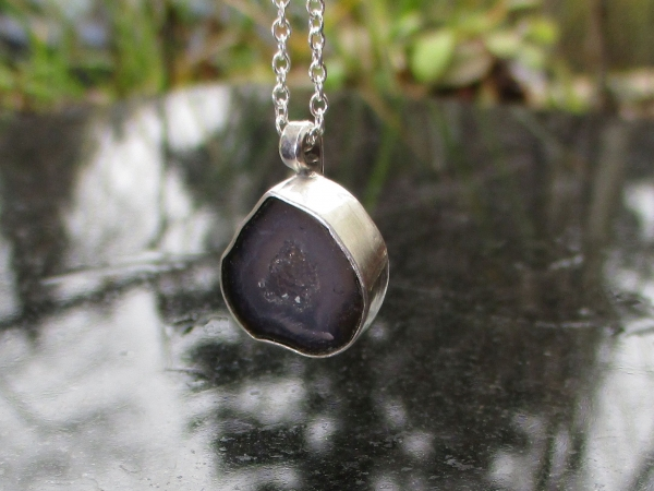 Handmade Druzy Geode Crystal Necklace in Sterling Silver with Small Black and Gr