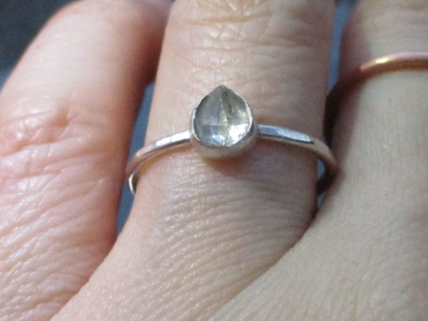 Handmade Quartz Stacking Ring in Sterling Silver Size 6 Fluorescent Crystal Ring