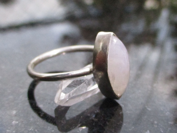 Handmade Moonstone Silver Ring Size 6 Crystal Stacking Ring for Women in 925 Ste