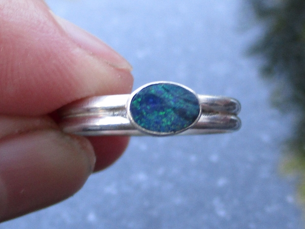 Opal Silver Stacking Ring Size 6 Natural Real Australian Opal October Birthstone