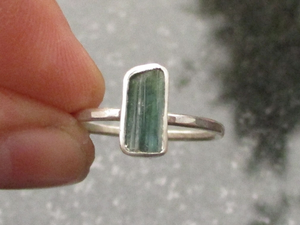 Raw Green Tourmaline Silver Ring Size 6 Bar Crystal Ring Minimalist Thin Hammere