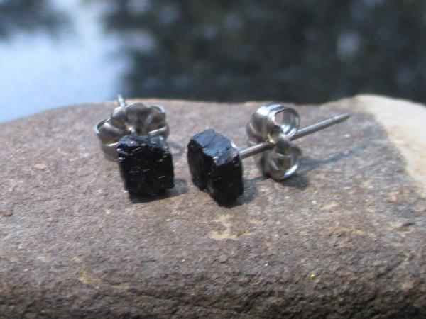 Raw Black Tourmaline Titanium Stud Earrings Black Crystal Gemstone Studs October