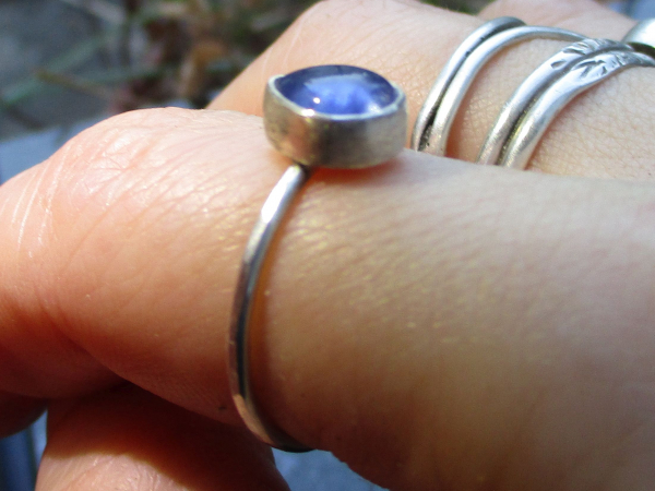 Handmade Opal Silver Stacking Ring Size 8 Natural Ethiopian Welo Opal Gemstone O