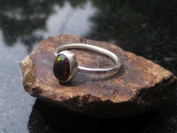 Oregon Fire Opal Stud Earrings in Sterling Silver Small 5mm Dainty Minimalist Je