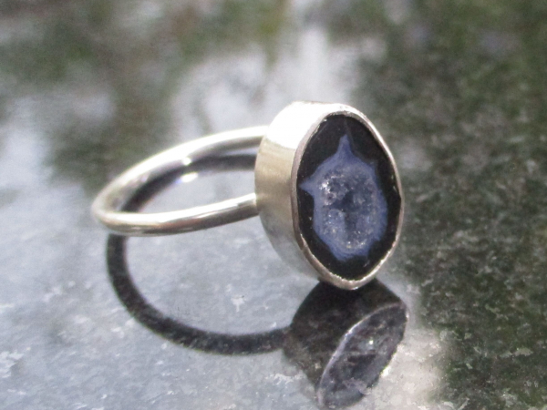 Druzy Geode Ring in Sterling Silver Size 7 Black Gray Tabasco Geode Gemstone Jew