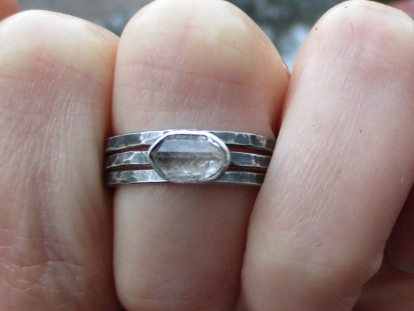 Handmade Raw Quartz Crystal Stacking Ring Set in Sterling Silver Size 7 With 3 H