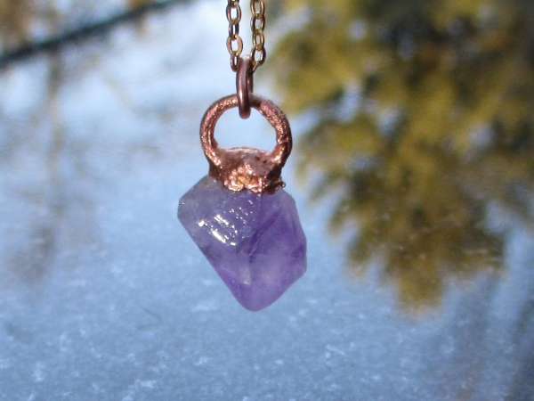 Handmade Amethyst Crystal Necklace with Copper Electroformed Raw Stone Pendant F