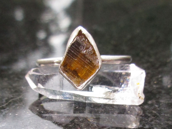 Clinozoisite Crystal Stacking Ring Set in 925 Sterling Silver Size 7