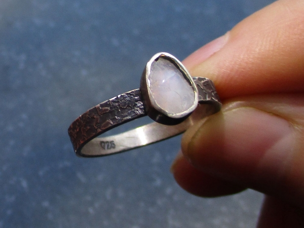 Handmade Raw Opal Silver Ring Size 8 Raw Stone Crystal October Birthstone Jewelr