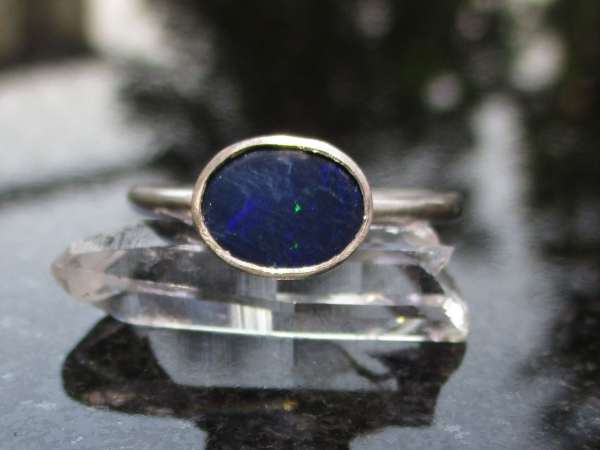 Handmade Australian Blue Opal Silver Ring Size 7 October Birthstone Jewelry for