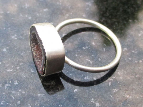 Tabasco Geode Ring In Sterling Silver US Size 9 Black Stone Silver Stackable Geo