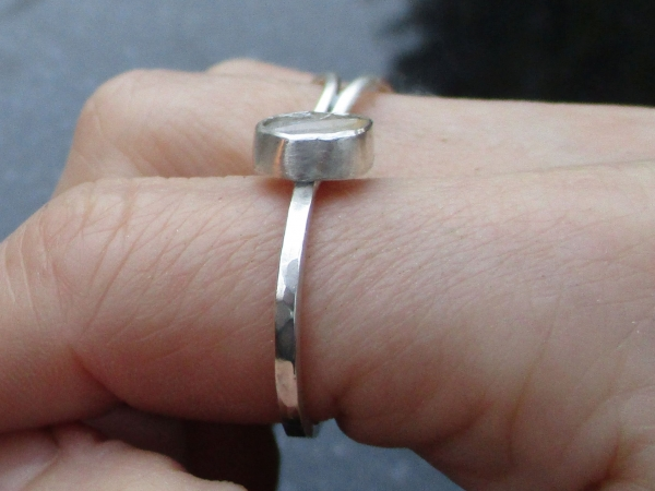 Handmade Fossil Ring in Sterling Silver Size 7 Orthoceras Fossil Gemstone Black