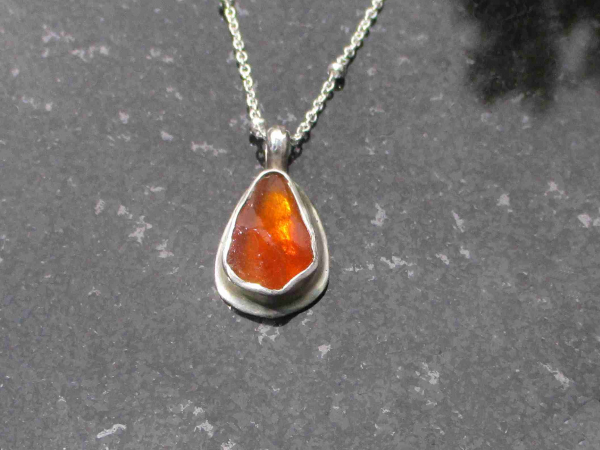 Raw Opal Silver Necklace with Natural Real Mexican Fire Opal Crystal Jewelry for