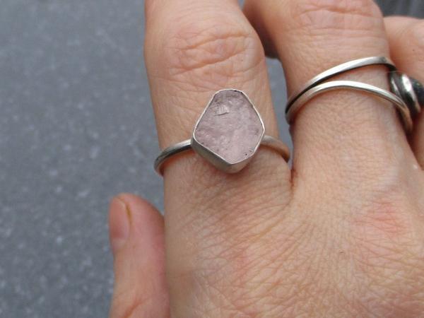 Raw Morganite Ring Size 7 Sterling Silver Pink Crystal Stacking Ring Handmade