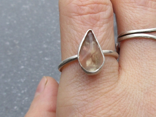 Oregon Sunstone Ring in Sterling Silver Size 7 Schiller Raw Stone
