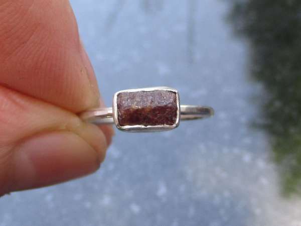 Raw Ruby Ring Size 7 Handmade Sterling Silver Crystal Stacking Ring July Birthst