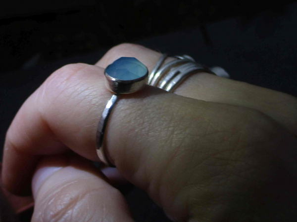 Handmade Size 5 Raw Opal Stacking Ring in Sterling Silver Oxidized Natural Real