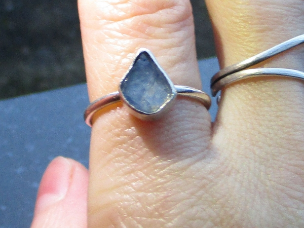 Oregon Blue Opal Silver Ring Size 6 October Birthstone Natural Crystal Raw Stone