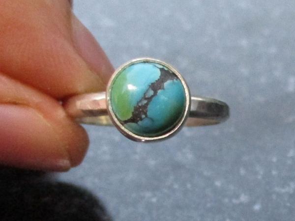 Handmade Turquoise Silver Ring US Size 7 Natural Tibetan Turquoise Gemstone Dece