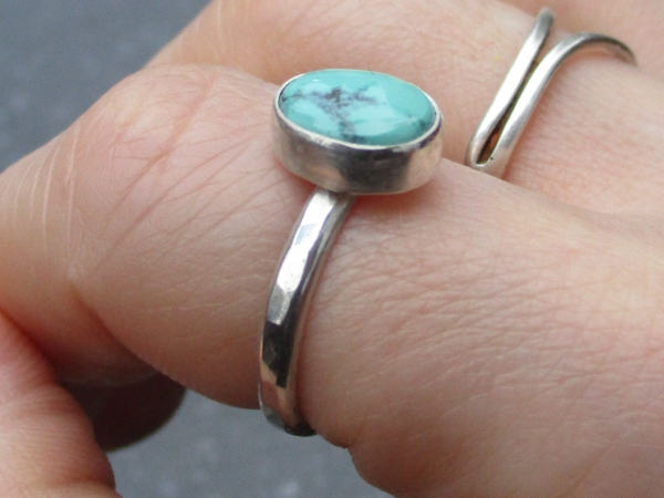 Handmade Turquoise Sterling Silver Stacking Ring in Size 7 December Birthstone G