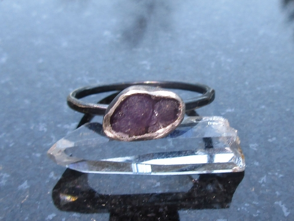 Druzy Grape Agate Crystal Stacking Ring US Size 6 Raw Stone Jewelry with Purple