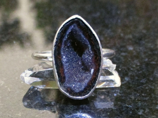 Geode Ring in Sterling Silver Size 7 Black Druzy Tabasco Geode Gemstone Jewelry