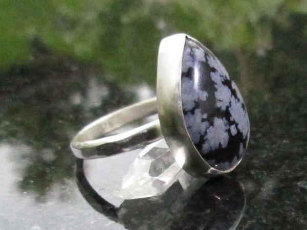 Snowflake Obsidian Statement Ring Size 8 Hammered 925 Sterling Silver Band with