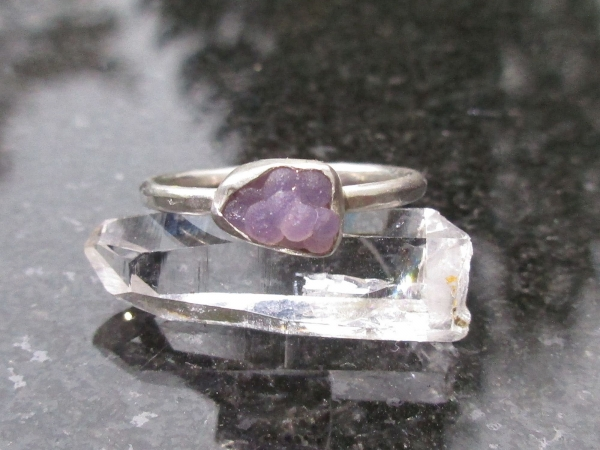 Size 5 Grape Agate Crystal Ring in Sterling Silver Raw Stone Jewelry with Natura