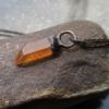 Tangerine Quartz Crystal Necklace, Antique Copper Electroformed Pendant,Raw Ston