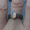 Raw Opal Sterling Silver Ring in Size 6 Geometric Gemstone Ring