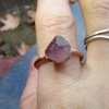 Raw Amethyst Copper Electroformed Ring Size 8 February Birthstone  Crystal Stack