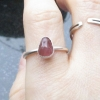 Handmade Raw Pink Sapphire Ring in Size 8 Crystal Sterling Silver Stacking Ring