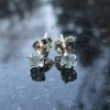 Raw Blue Apatite Earrings Studs in Sterling Silver 4 mm Small Stone Aqua Blue Cr
