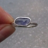 Raw Tanzanite Sterling Silver Stacking Ring Size 6 Purple Blue Crystal Minimalis