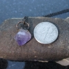 Raw Amethyst Crystal Necklace with Copper Electroformed Raw Stone Pendant Purple