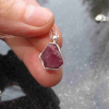 Druzy Geode Necklace in Sterling Silver with Mini Red Tabasco Geode Pendant