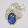 Labradorite Necklace in Sterling Silver with Oval Blue Flash Labradorite Pendant