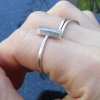 Kunzite Sterling Silver Ring in Size 6.5 Raw Stone Pink Crystal Stacking Minimal