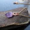 Raw Amethyst Crystal Necklace with Copper Electroformed Purple Stone Pendant Feb
