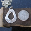 Reticulated Silver Pendant Organic Free Form Circle Teardrop Shape Textured Pend