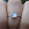 Blue Australian Opal Silver Stacking Ring with Thin Hammered Band Natural Austra